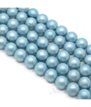 Жемчуг Майорка 10мм голубой матовый сатин, полная нить(40 бусин)