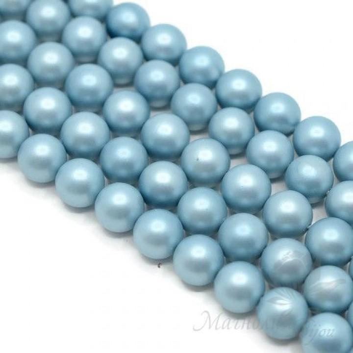 ЖЕМЧУГ Майорка, голубой, матовый сатин 10мм, полная нить(40 бусин)