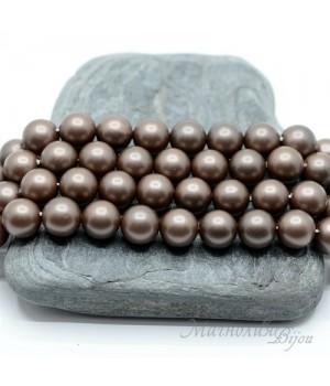 ЖЕМЧУГ Майорка, горький шоколад, матовый сатин 8мм