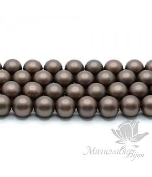 ЖЕМЧУГ Майорка, горький шоколад, матовый сатин 10мм