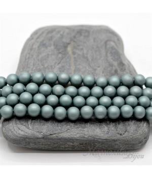 ЖЕМЧУГ Майорка, серый аспарагус, матовый сатин 6мм, 5 штук
