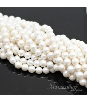 Жемчуг Майорка 6мм белый, полная нить(62 бусины)