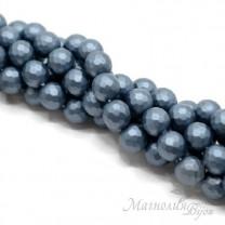 """ЖЕМЧУГ Майорка, граненый 10мм, цвет """"steel blue"""", полная нить(40 бусин)"""