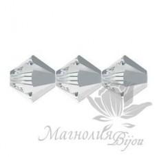 Биконусы Swarovski 3мм CRYSTAL LIGHT CHROME, 20 штук