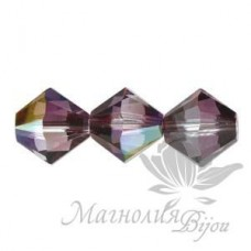 Биконусы Swarovski 3мм CRYSTAL LILAC SHADOW, 20 штук