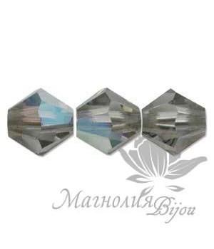 Биконусы Swarovski 4мм BLACK DIAMOND AB, 20 штук