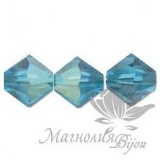 Биконусы Swarovski 4мм BLUE ZIRCON,  20 штук