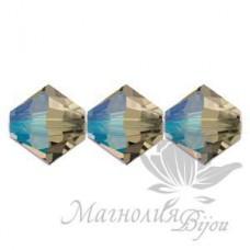 Биконусы Swarovski 4мм BLACK DIAMOND SHIMMER, 20 штук