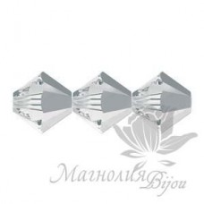 Биконусы Swarovski 4мм CRYSTAL LIGHT CHROME, 20 штук