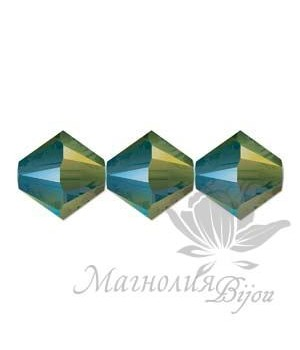 Биконусы Swarovski 4мм IRIDESCENT GREEN, 20 штук