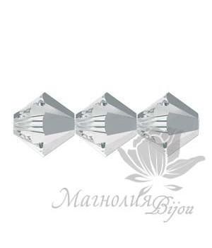 Биконусы Swarovski 6мм Crystal Light Chrome, 10 штук