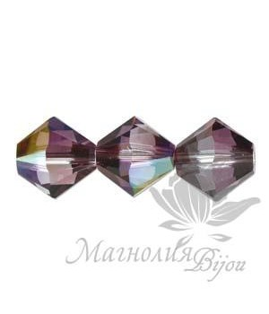 Биконусы Swarovski 6мм Crystal Lilac Shadow, 10 штук