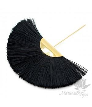 """Шёлковая кисть-веер """"BLACK"""" с пином(позолота 16 карат)"""