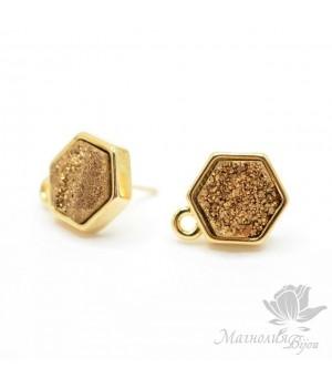 Пуссеты с друзами пирита золотые шестигранные, позолота 18 карат