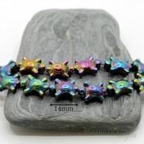 """ГЕМАТИТ """"Черепашки"""", с титановым покрытием, цвет радужный АВ, 2 штуки"""