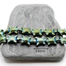 """ГЕМАТИТ """"Черепашки"""", с титановым покрытием, цвет зелёный, 2 штуки"""