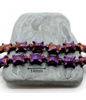 """ГЕМАТИТ """"Черепашки"""", с титановым покрытием, цвет пурпурный, 2 штуки"""