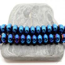 """ГЕМАТИТ """"Рондель 10мм"""", с титановым покрытием, цвет синий, 10 штук"""