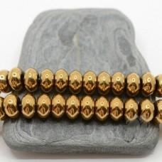 """ГЕМАТИТ """"Рондель 10мм"""", с титановым покрытием, цвет золотой, 10 штук"""