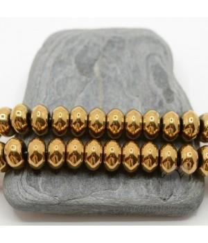 """Гематит """"Рондель 10мм"""" с титановым покрытием, цвет золотой(10 штук)"""