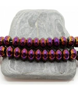 """ГЕМАТИТ """"Рондель 10мм"""", с титановым покрытием, цвет пурпурный, 10 штук"""