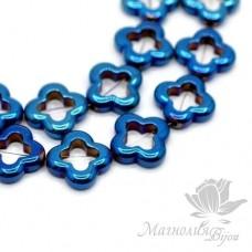 """ГЕМАТИТ """"Ван Клиф"""", с титановым покрытием, цвет синий, 1 штука"""