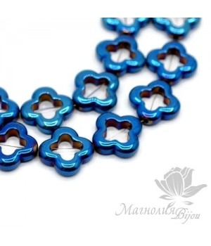 """Гематит """"Van Cleef"""" с титановым покрытием цвет синий, 1 штука"""