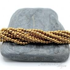 """Гематит с титановым покрытием  3мм, цвет """"золото"""", 50 штук"""