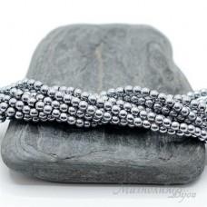 """Гематит с титановым покрытием 3мм, цвет """"серебро"""", 50 штук"""
