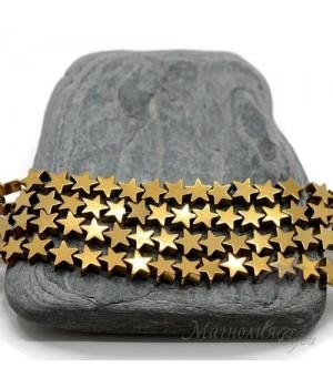 """Гематит """"Star"""" с титановым покрытием 6мм, цвет """"золото"""", 10 штук"""