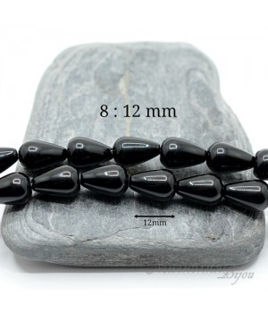 Чёрный агат капля 8:12мм, 2 штуки