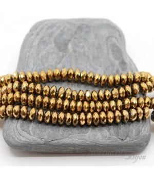 Гематит рондель 3:6мм с титановым покрытием золото, 10 штук